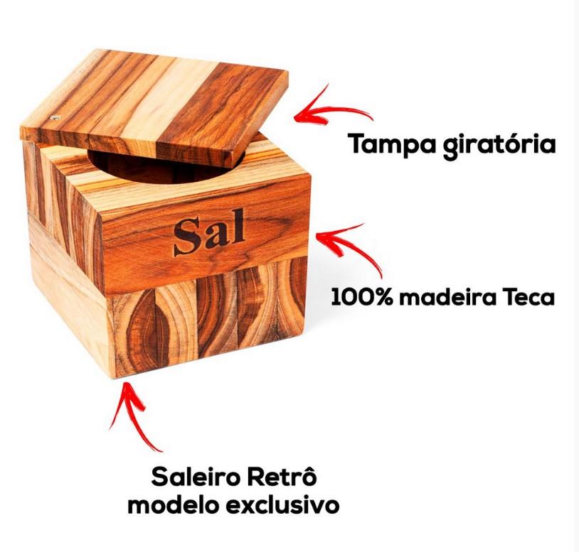 SALEIRO DE MADEIRA TECA PREMIUM - MED12X12X10 - STOLF