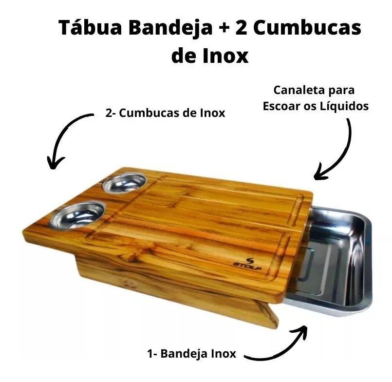 Tábua Churrasco De Madeira Teca Com Bandeja E Cumbucas Inox