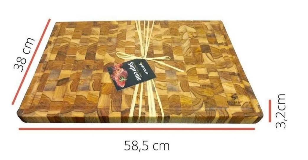 Tabua de corte Multiuso Stolf 58,5x38 em Madeira Invertida Teca - STOLF