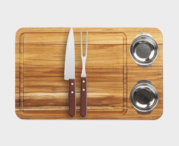 Tabua para churrasco med. 44x30cm com tabua, garfo e potes de inox - Stolf