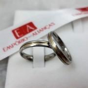 Aliança em Aço Cirúrgico Filete Ouro 18kl 3mm