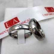 Alianças Aço Cirúrgico Lisa com Pedra 5mm