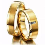 Alianças em Ouro Noivado Casamento 18kl Quadrada Fosca Anatômica Pedra Zircônia 6mm 9 Gramas o Par