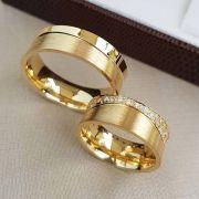 Alianças em Ouro Noivado Casamento Anatômica 25 Gramas Zircônia