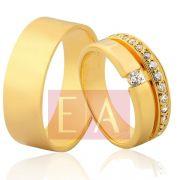 Alianças em Ouro Noivado Casamento Anatômica 7mm 12 gramas Brilhante Cravejado Exclusivo