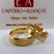 Alianças em Ouro Noivado Casamento Chanfrada Pedra Zircônia Cravejada Fosca 7mm 20 Gramas o Par