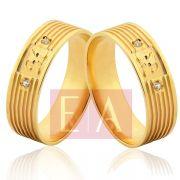 Alianças em Ouro Noivado Casamento Quadrada 6mm 8 Gramas Iniciais Brilhante