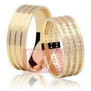 Alianças em Ouro Noivado Casamento Quadrada Anatômica Pedra Zircônia Cravejada 7mm 14 Gramas