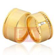 Alianças em Ouro Noivado Casamento Quadrada Brilhante Larga 10mm 25 Gramas