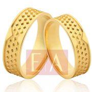 Alianças em Ouro Noivado Casamento Quadrada Trabalhada 6mm 8 Gramas Anatômica
