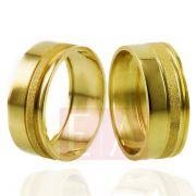 Alianças em Ouro Noivado Casamento Quadrado 8mm 10gr Oca o Par