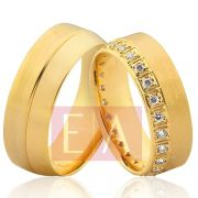 Alianças em Ouro Noivado Casamento Redonda 7mm 17 Gramas Anatômica Brilhante