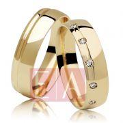 Alianças em Ouro Noivado Casamento Redonda Anatômica Pedra Zircônia 5mm 7 Gramas