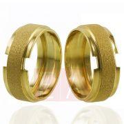 Alianças em Ouro Noivado Casamento Trabalhada 8mm 9gr Oca
