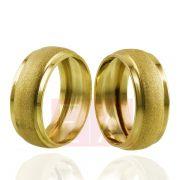 Alianças em Ouro Noivado Casamento Trabalhada Abaulada 8mm 8gr Oca