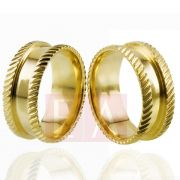 Alianças em Ouro Noivado Casamento Trabalhada Quadrada 8mm 14gr Anatômica