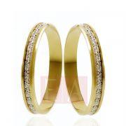 Alianças Ouro 18k Bodas de Prata Redonda Reta Filete Ouro Branco 3mm 3 Gramas