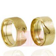 Alianças Ouro 18k Casamento Noivado Oca Coração Fosca Larga 9mm 22 Gramas