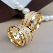 Alianças Ouro 18k Casamento Noivado Quadrada Fosca Zircônia Anatômica 10mm 22 Gramas