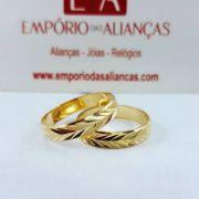 Alianças Ouro 18k Casamento Noivado Quadrada Trabalhada Reta 4mm 5 Gramas