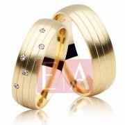 Alianças Ouro 18k Casamento Noivado Redonda Pedra Zircônia Anatômica 6mm 8 Gramas