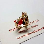 Alianças Ouro 18k Casamento Noivado Trabalhada Quadrada 4mm 5 Gramas