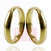 Alianças Ouro 18k Casamento Noivado Tradicional Abaulada Lisa Anatômica Oca 4mm 7 Gramas