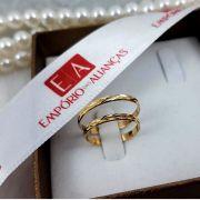 Alianças Ouro 18k Noivado Casamento Fina Trabalhada Quadrada 2mm 1,60 Gramas o Par