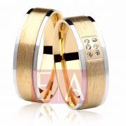 Alianças Ouro Bodas de Prata Duas Cores Brilhante Anatômica Quadrada 6mm 11 Gramas
