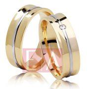 Alianças Ouro Casamento Noivado 18k Bodas de Prata Côncova Anatômica Pedra Brilhante 6mm 11 Gramas