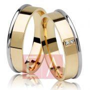 Alianças Ouro Casamento Noivado 18k Bodas de Prata Quadrada Pedra Brilhante 6mm 9 Gramas