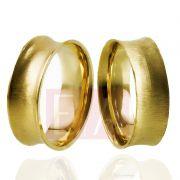 Alianças Ouro Casamento Noivado 18k Côncova Anatômica Escovada  7mm 10 Gramas