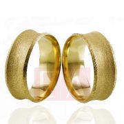 Alianças Ouro Casamento Noivado 18k Côncova Anatômica Fosca 8mm 10 Gramas o Par