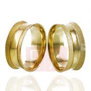 Alianças Ouro Casamento Noivado 18k Côncova Anatômica Fosca 8mm 8 Gramas