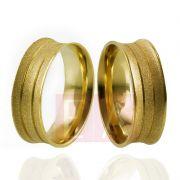 Alianças Ouro Casamento Noivado 18k Côncova Diamantada Anatômica 7mm 9 gramas o Par