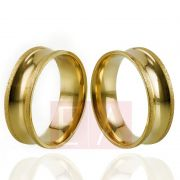 Alianças Ouro Casamento Noivado 18k Côncova Diamantada Polida Anatômica 7mm  10 gramas