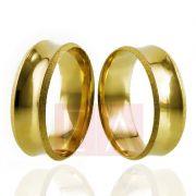 Alianças Ouro Casamento Noivado 18k Côncova Diamantada Polida Anatômica 7mm  8 gramas o Par
