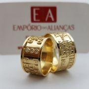 Alianças Ouro Casamento Noivado 18k Larga Quadrada Anatômica Gravação Externa à Laser 11mm 18 Gramas