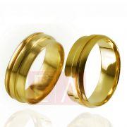 Alianças Ouro Casamento Noivado 18k Lisa Trabalhada  7mm 12 gramas