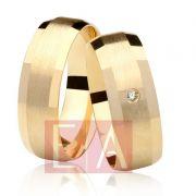 Alianças Ouro Casamento Noivado 18k Pedra Brilhante Fosca Anatômica 7mm 11 Gramas