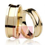 Alianças Ouro Casamento Noivado 18k Pedra Brilhante Quadrada Anatômica 7mm 26 Gramas