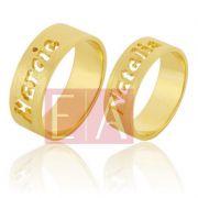 Alianças Ouro Casamento Noivado 18k Personalizada Acetinada 7mm 10 Gramas o Par