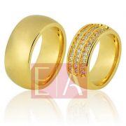 Alianças Ouro Noivado Casamento 18k Redonda Lisa Brilhante Anatômica 9mm 38 Gramas o Par