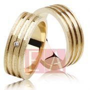 Alianças Ouro Casamento Noivado 18k Quadrada Anatômica Fosca Pedra Zircônia 6mm 12 Gramas