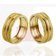 Alianças Ouro Casamento Noivado 18k Quadrada Diamantada Oca 7mm  10 gramas