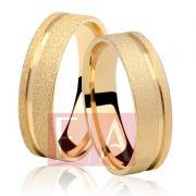 Alianças Ouro Casamento Noivado 18k Quadrada Fosca Anatômica 5mm 7 Gramas