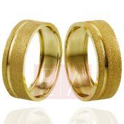 Alianças Ouro Casamento Noivado 18k Quadrada Oca Fosca 7mm e 9 gramas o Par