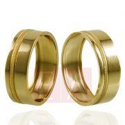 Alianças Ouro Casamento Noivado 18k Quadrada Oca Trabalhada 7mm  8 gramas