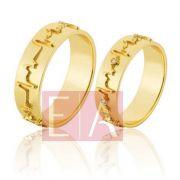 Alianças Ouro 18k Noivado Casamento Quadrada Batimento Cardíaco Brilhante 6mm 11 Gramas o Par