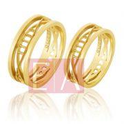 Alianças Ouro Casamento Noivado 18k Quadrada Polida  6 mm  9 gramas